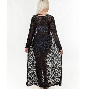 Coachella inspired long geo-patterned lace kimono